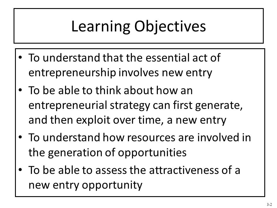 Learning Objectives To understand that the essential act of entrepreneurship involves new entry.