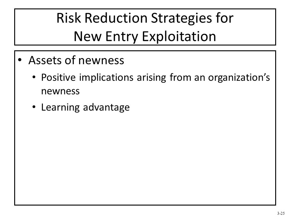 Risk Reduction Strategies for New Entry Exploitation