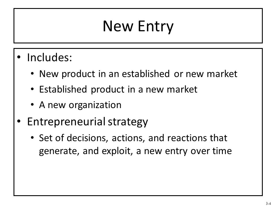 New Entry Includes: Entrepreneurial strategy