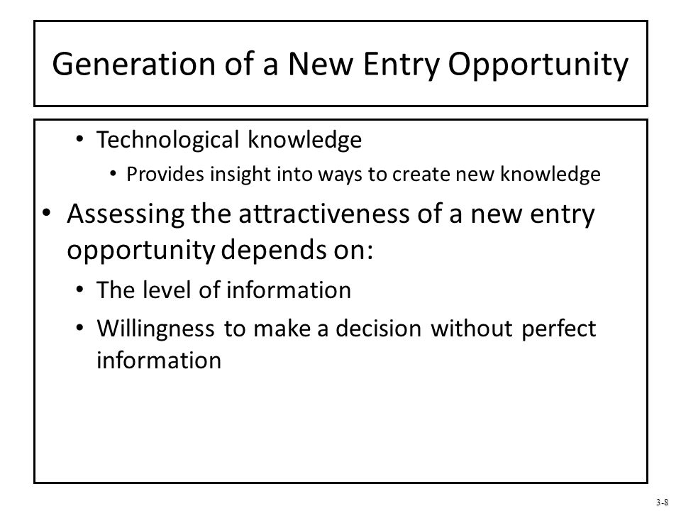 Generation of a New Entry Opportunity