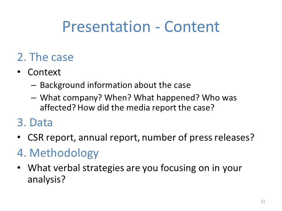 Presentation - Content