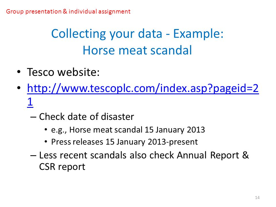 Collecting your data - Example: Horse meat scandal