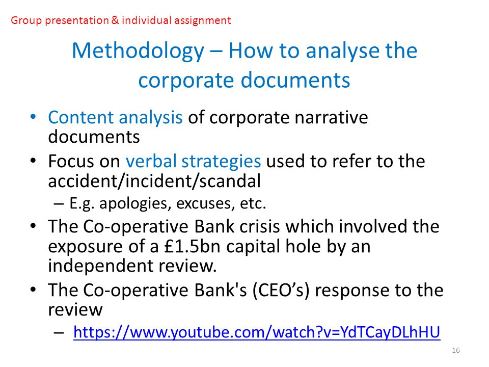 Methodology – How to analyse the corporate documents