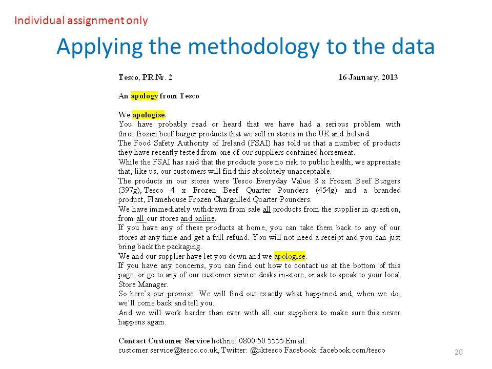 Applying the methodology to the data