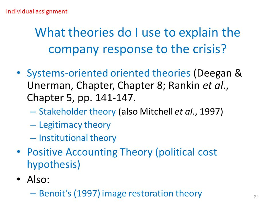 What theories do I use to explain the company response to the crisis