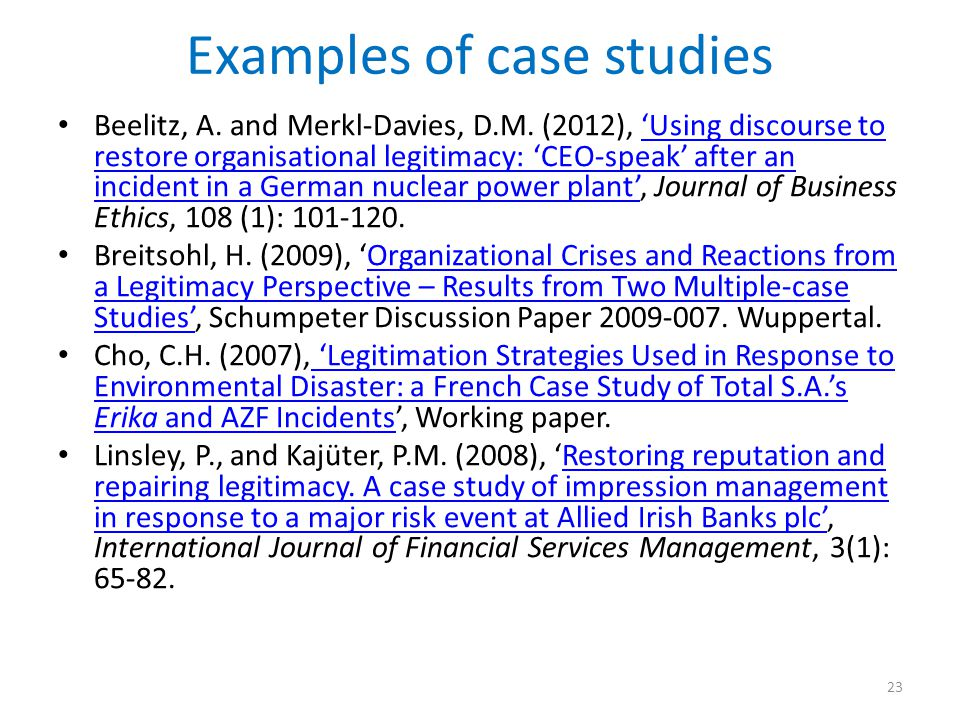 Examples of case studies
