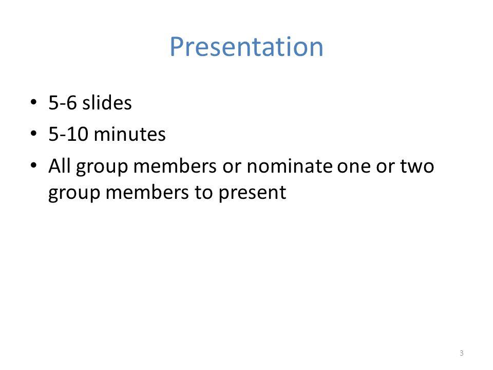 Presentation 5-6 slides 5-10 minutes