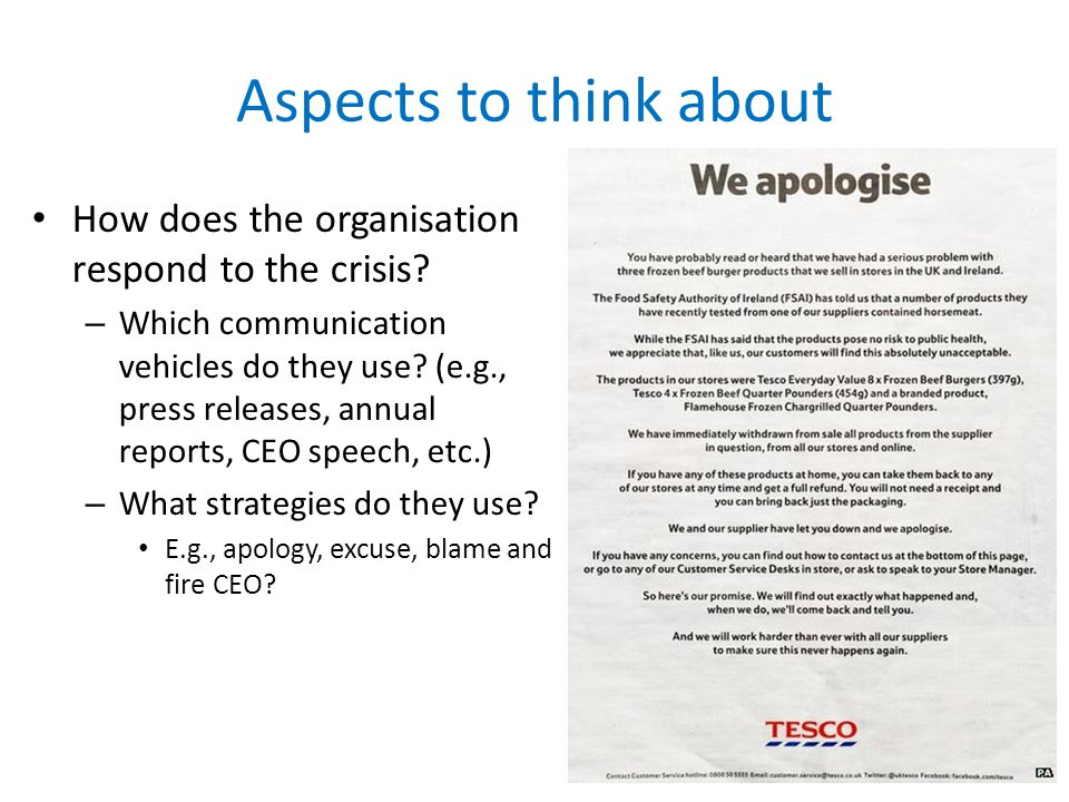 Aspects to think about How does the organisation respond to the crisis