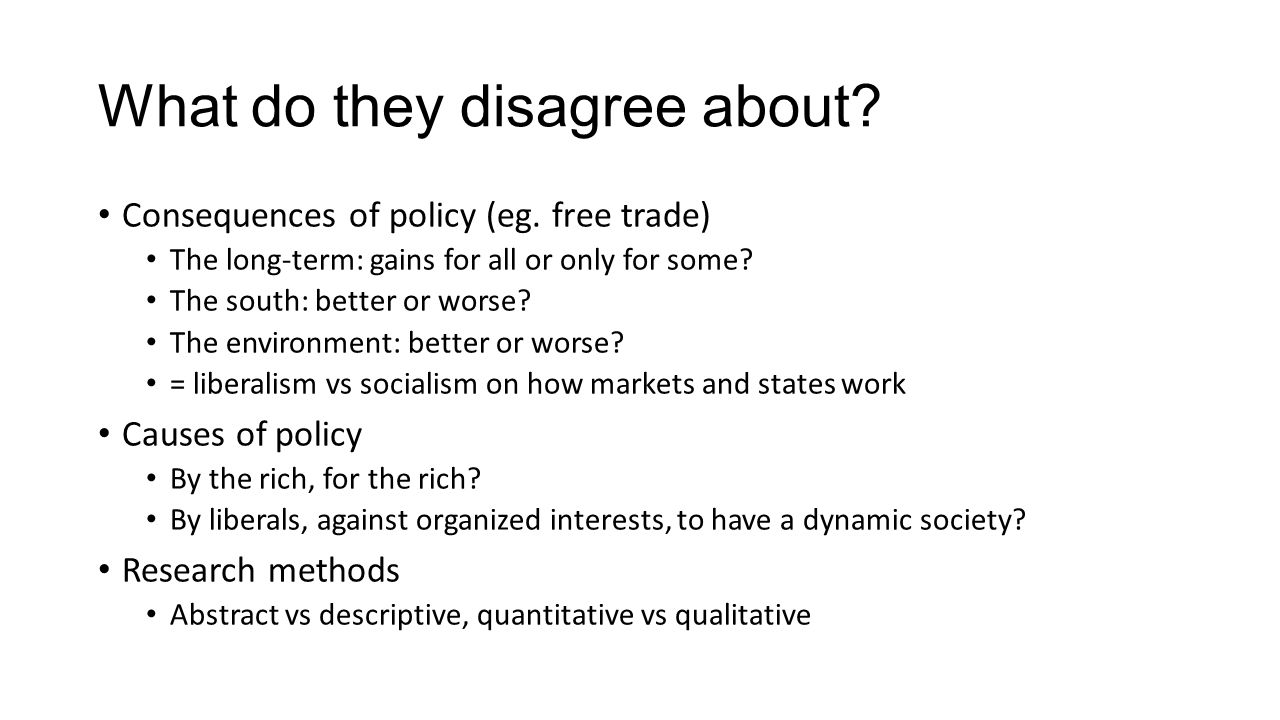 What do they disagree about