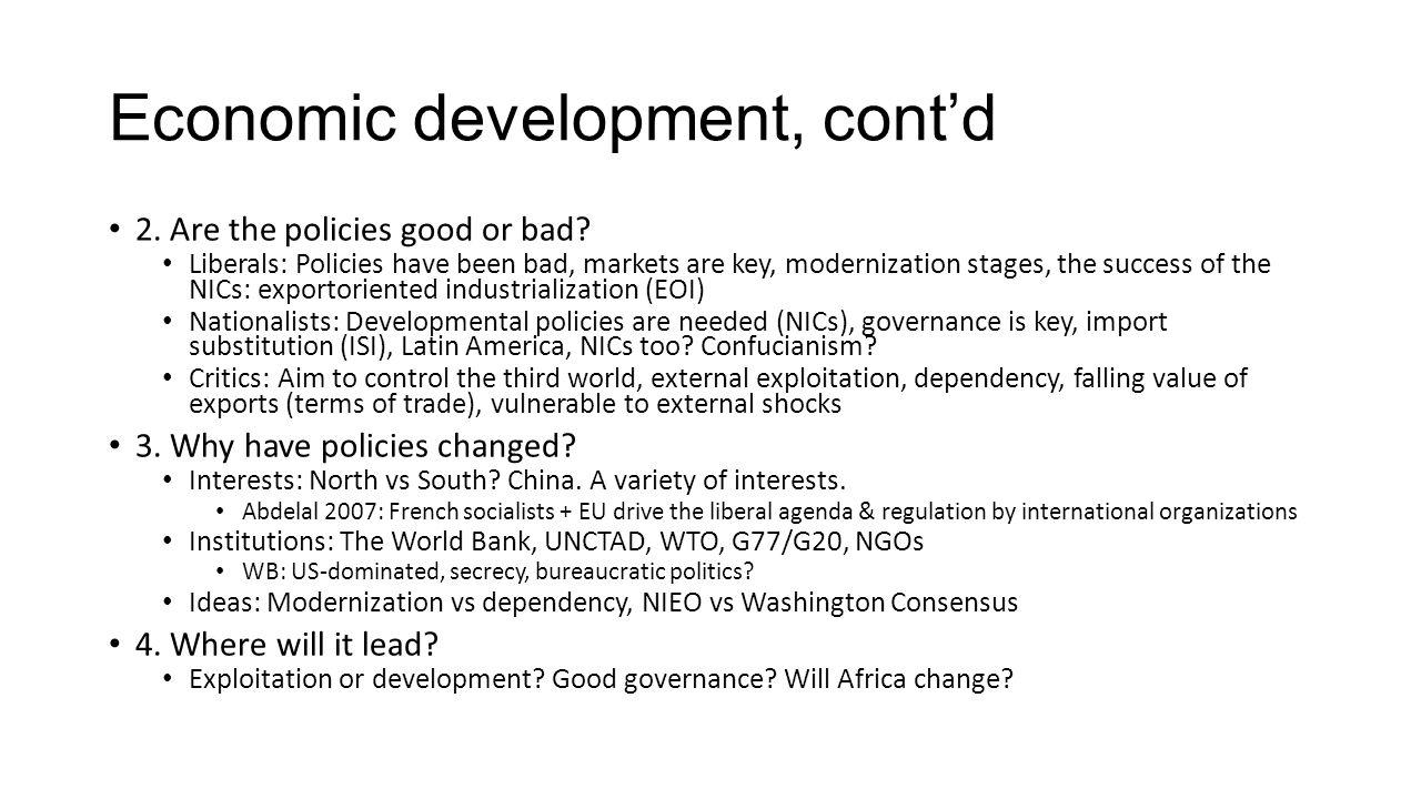 Economic development, cont'd