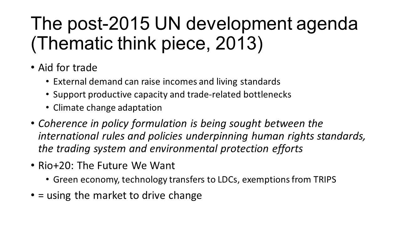 The post-2015 UN development agenda (Thematic think piece, 2013)