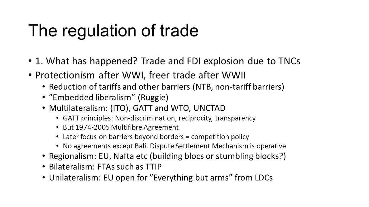 The regulation of trade
