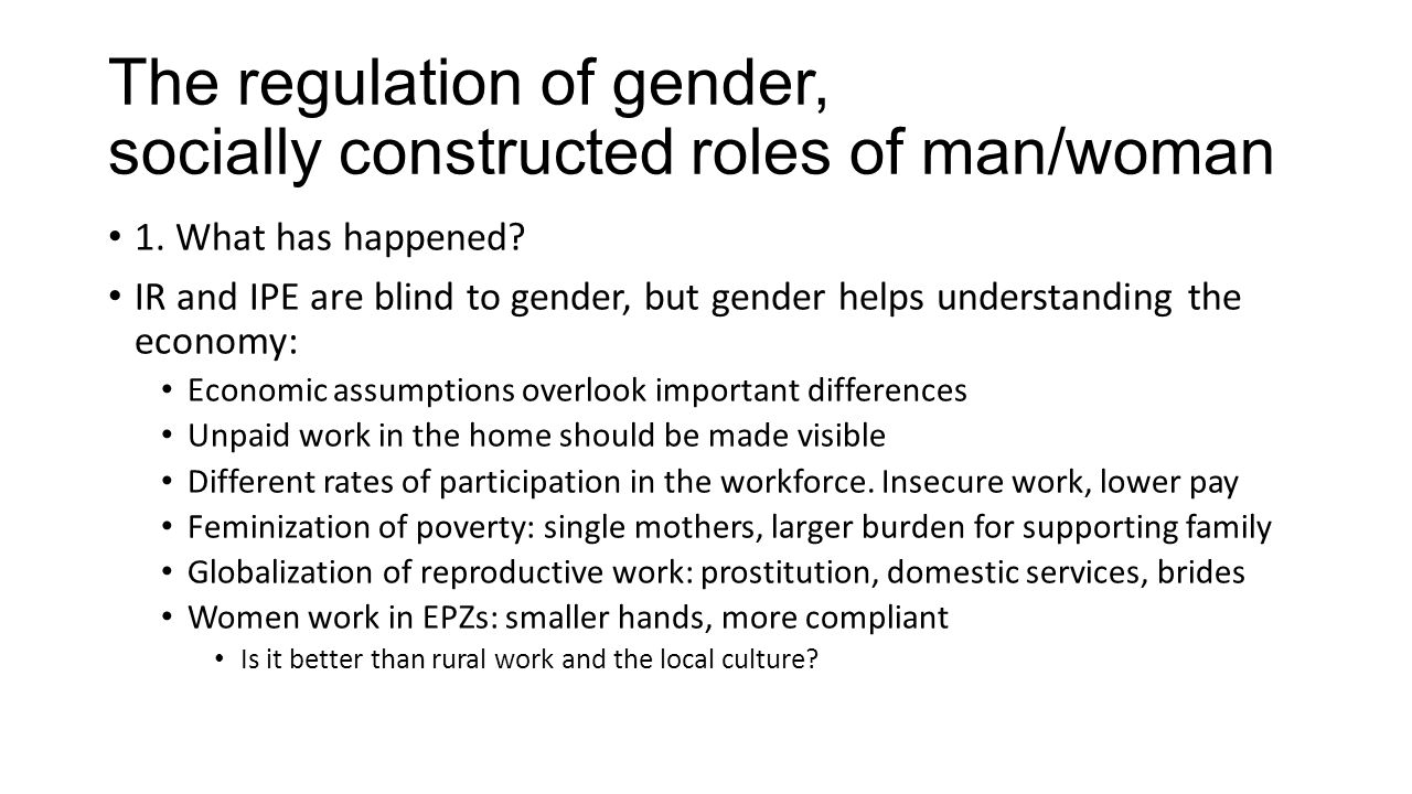 The regulation of gender, socially constructed roles of man/woman