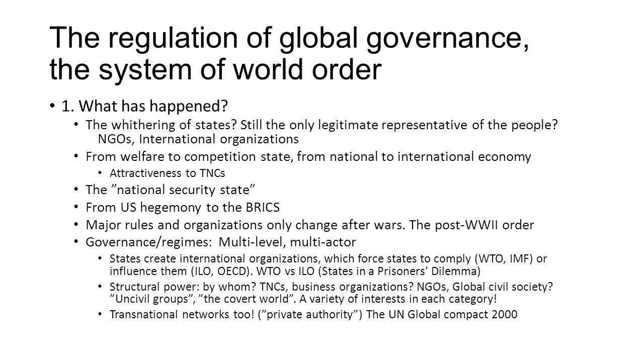 The regulation of global governance, the system of world order