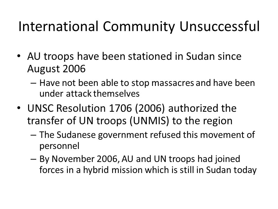International Community Unsuccessful