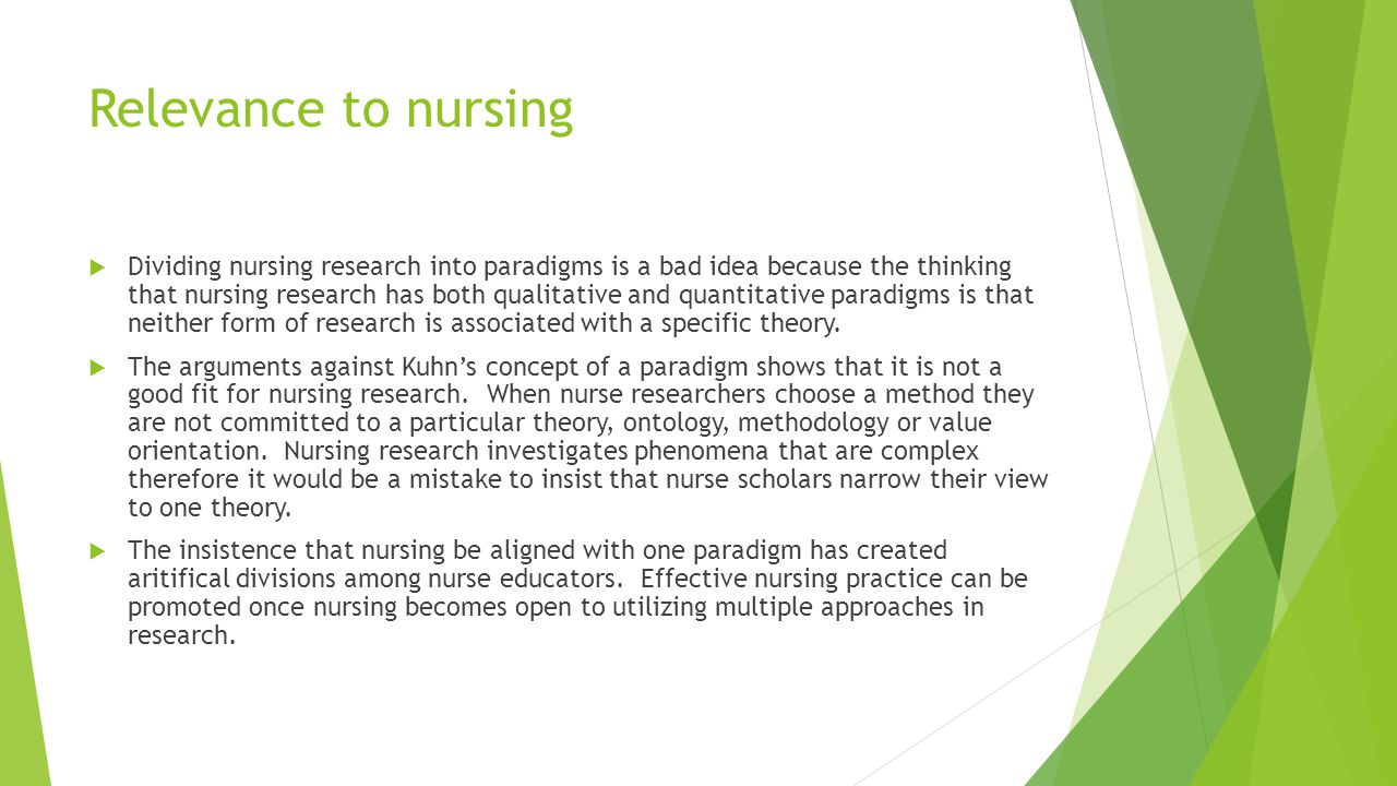 Relevance to nursing