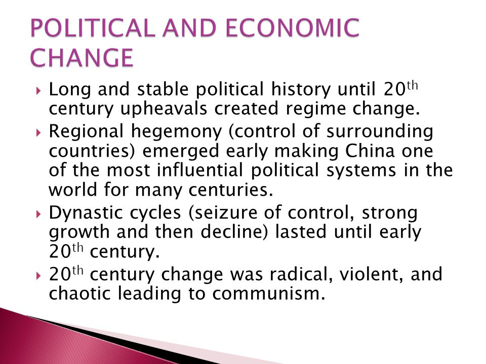 POLITICAL AND ECONOMIC CHANGE