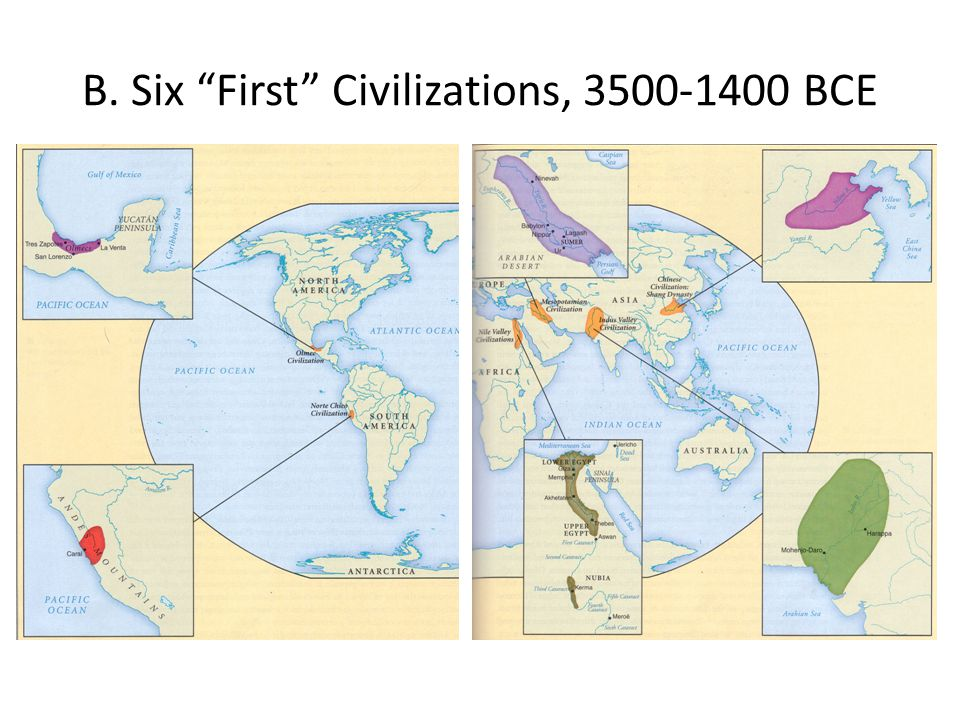 B. Six First Civilizations, 3500-1400 BCE