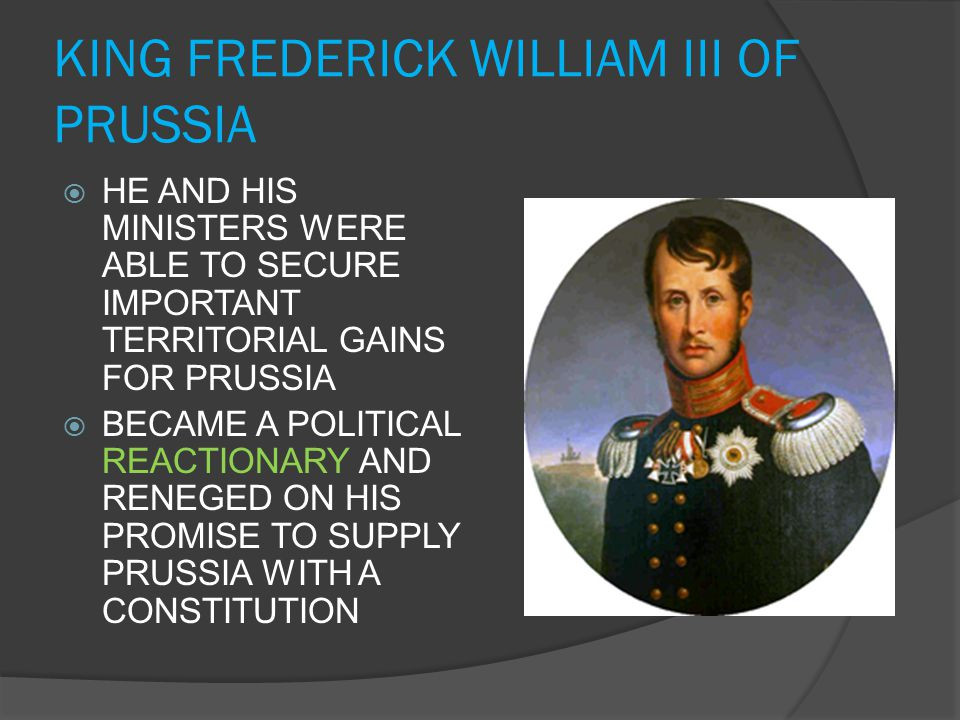 KING FREDERICK WILLIAM III OF PRUSSIA