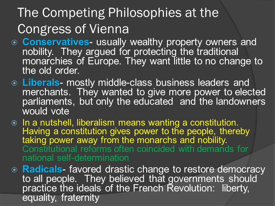 The Competing Philosophies at the Congress of Vienna