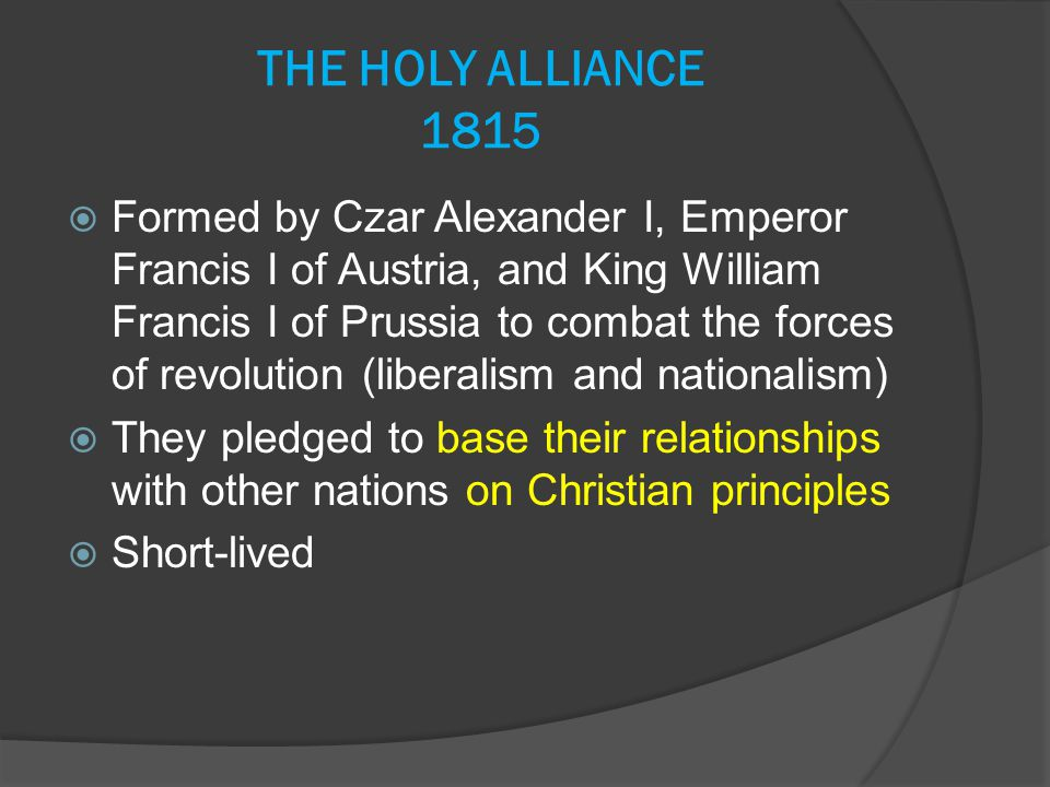 THE HOLY ALLIANCE 1815