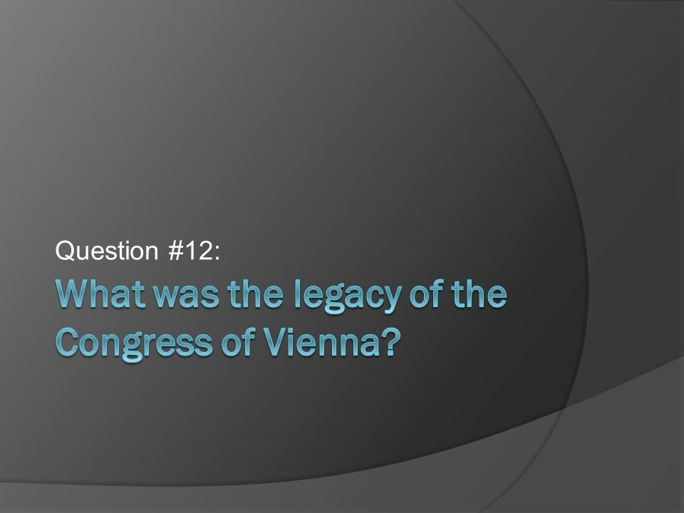 What was the legacy of the Congress of Vienna