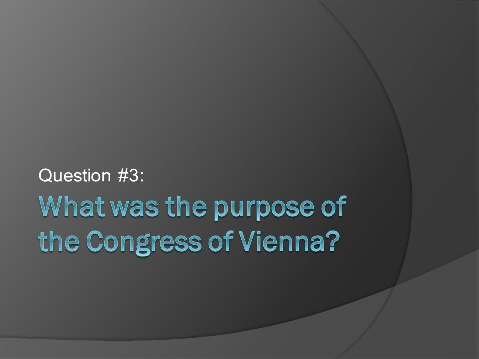 What was the purpose of the Congress of Vienna