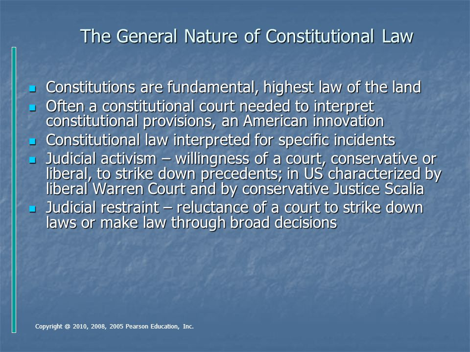 The General Nature of Constitutional Law