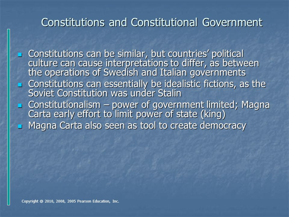 Constitutions and Constitutional Government