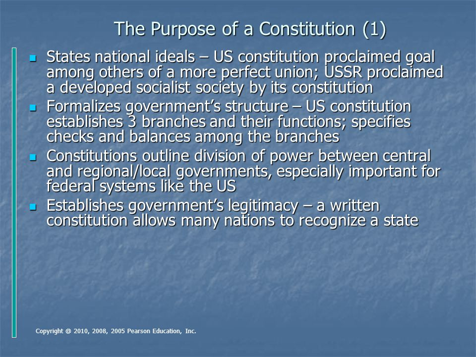 The Purpose of a Constitution (1)
