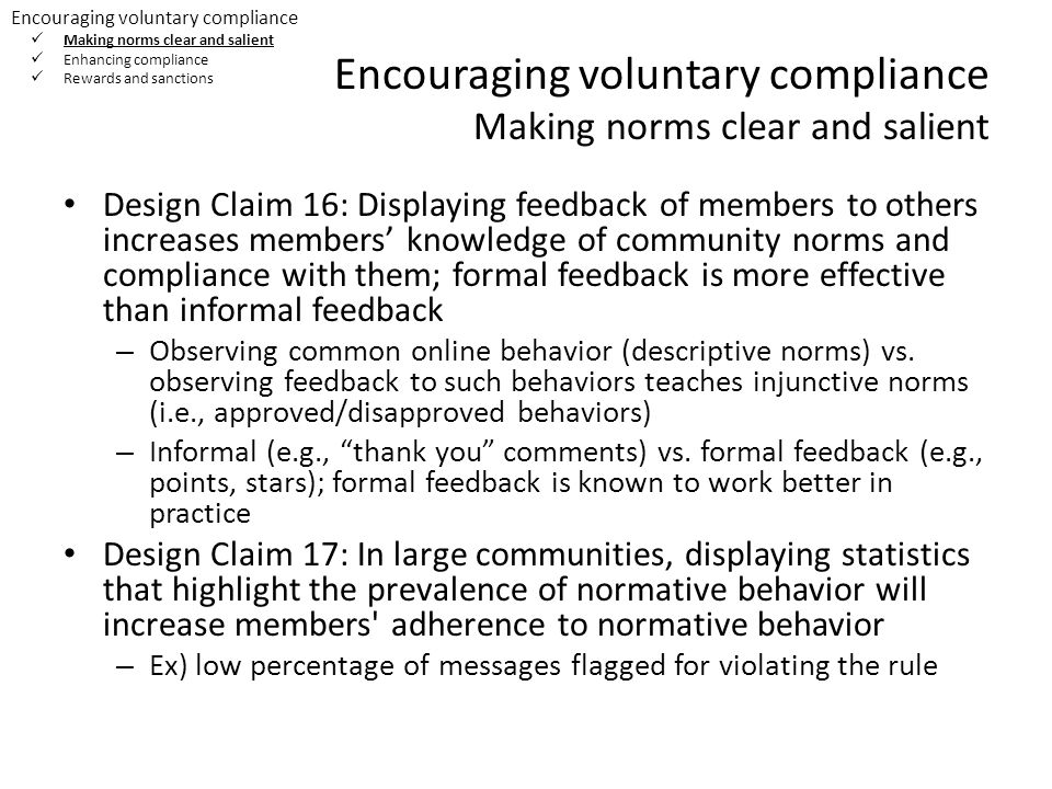 Encouraging voluntary compliance Making norms clear and salient