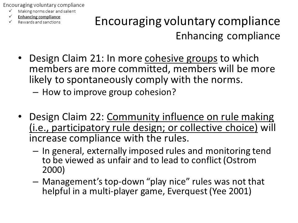 Encouraging voluntary compliance Enhancing compliance