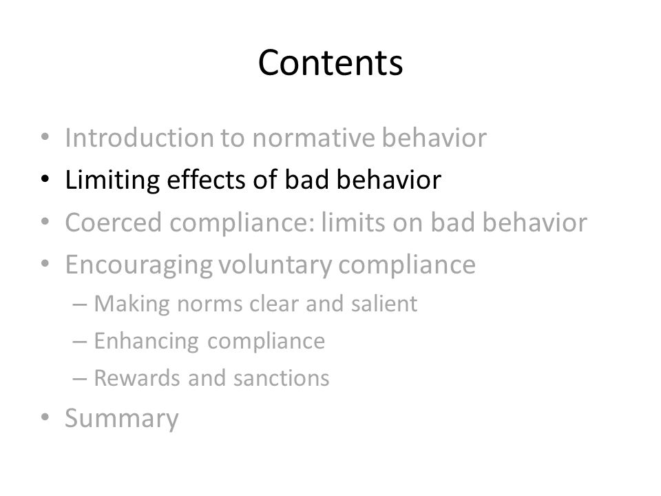 Contents Introduction to normative behavior