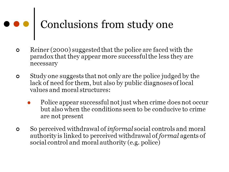 Conclusions from study one