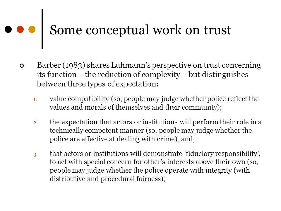 Some conceptual work on trust