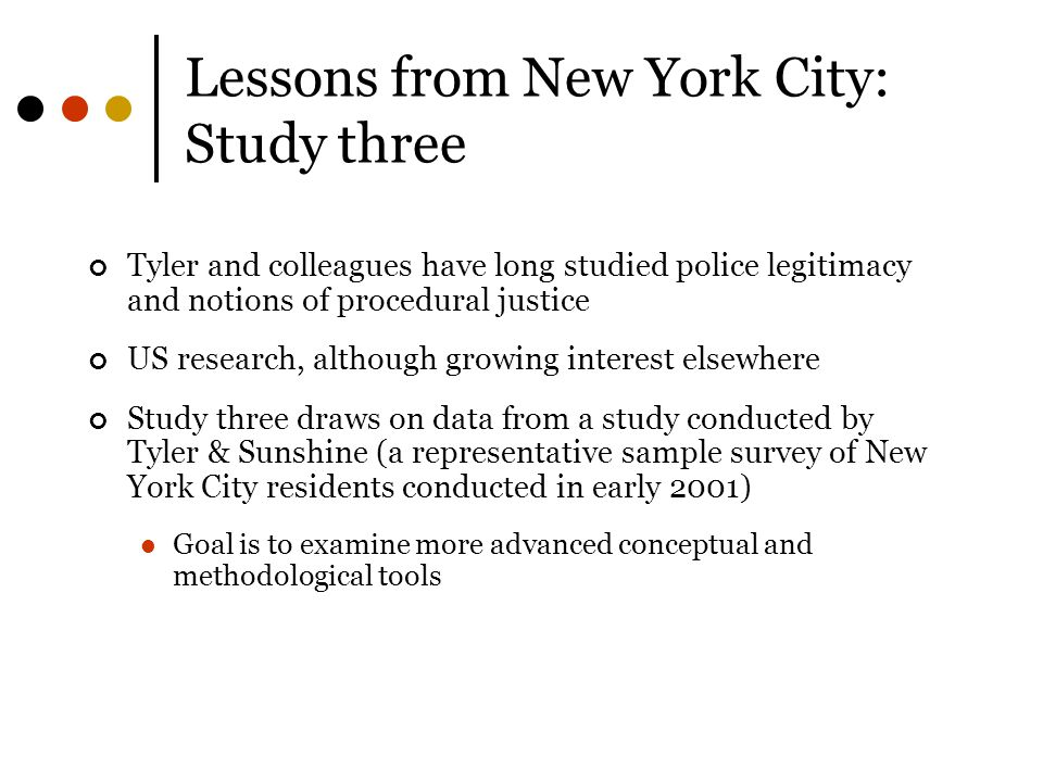 Lessons from New York City: Study three