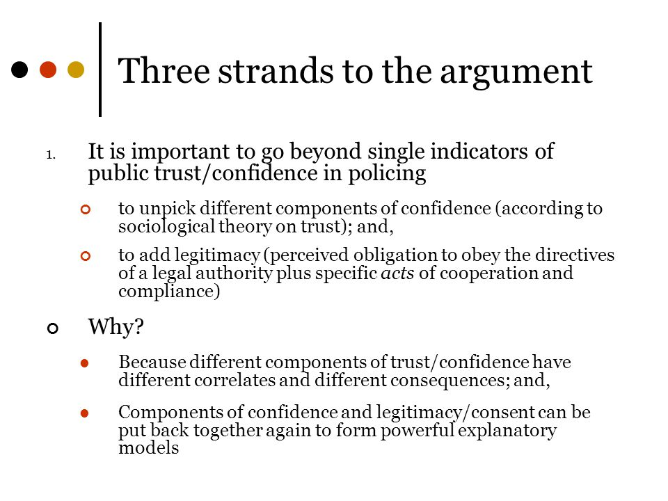 Three strands to the argument