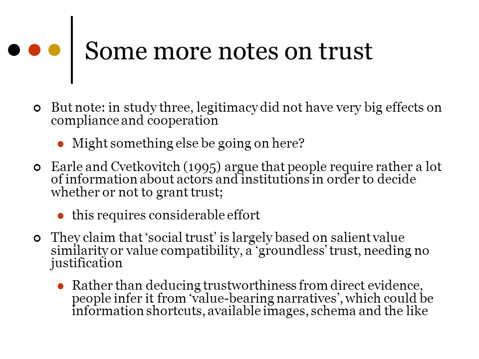 Some more notes on trust
