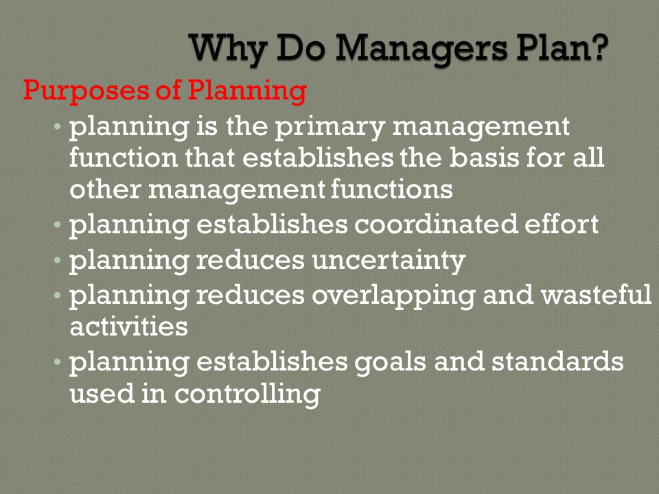 Why Do Managers Plan Purposes of Planning