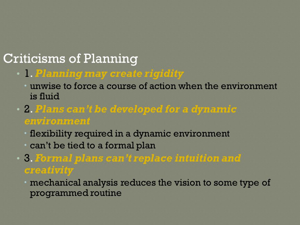 Criticisms of Planning
