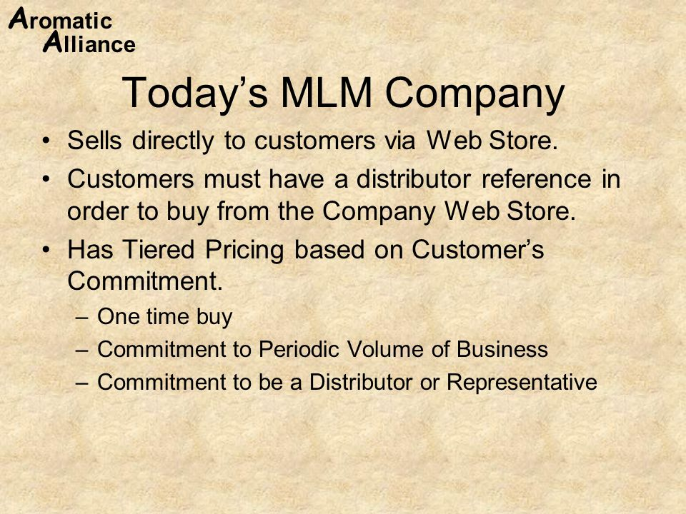 Today's MLM Company Sells directly to customers via Web Store.
