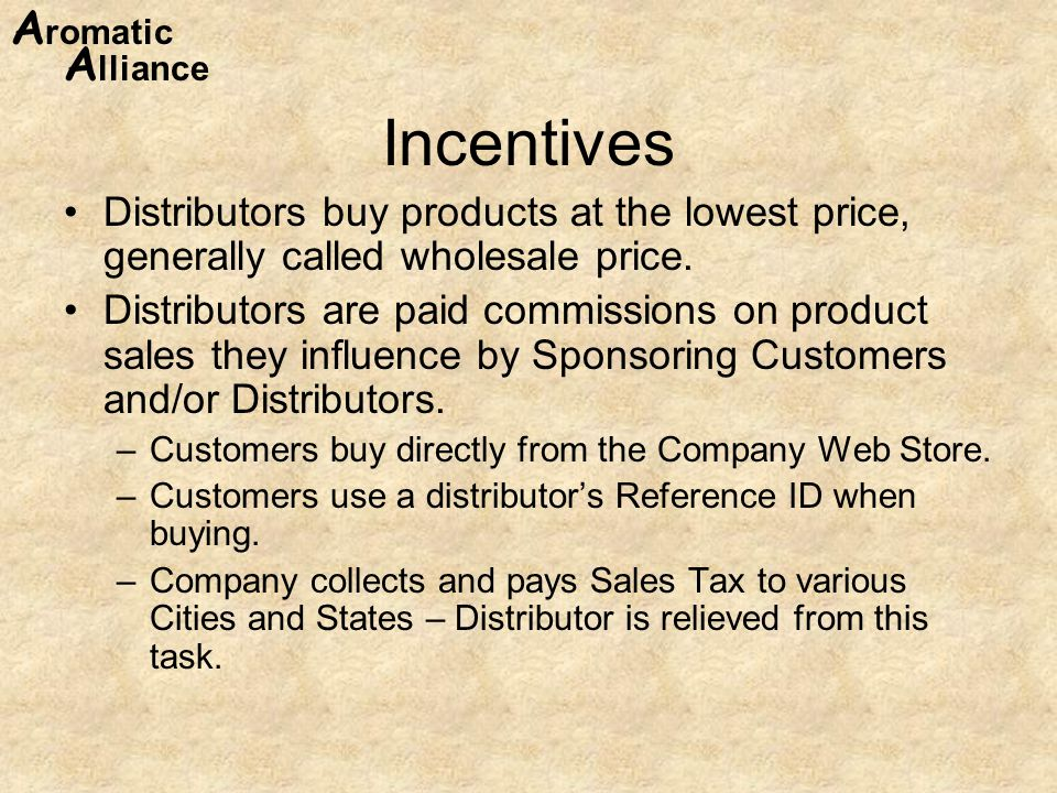 Incentives Distributors buy products at the lowest price, generally called wholesale price.