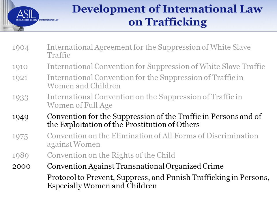 Development of International Law on Trafficking