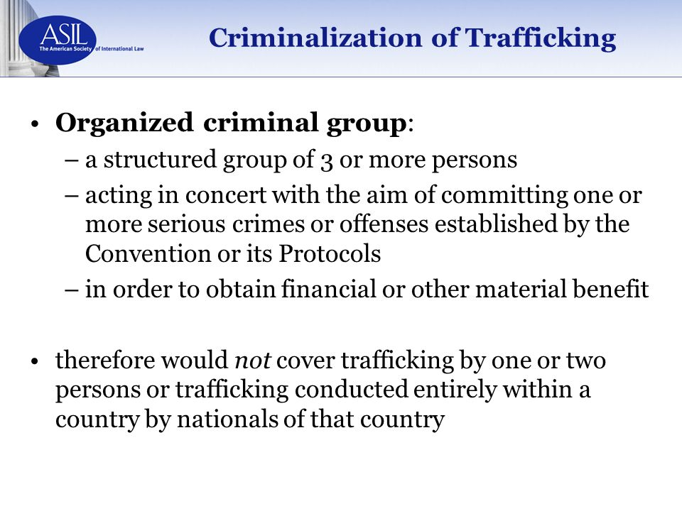 Criminalization of Trafficking