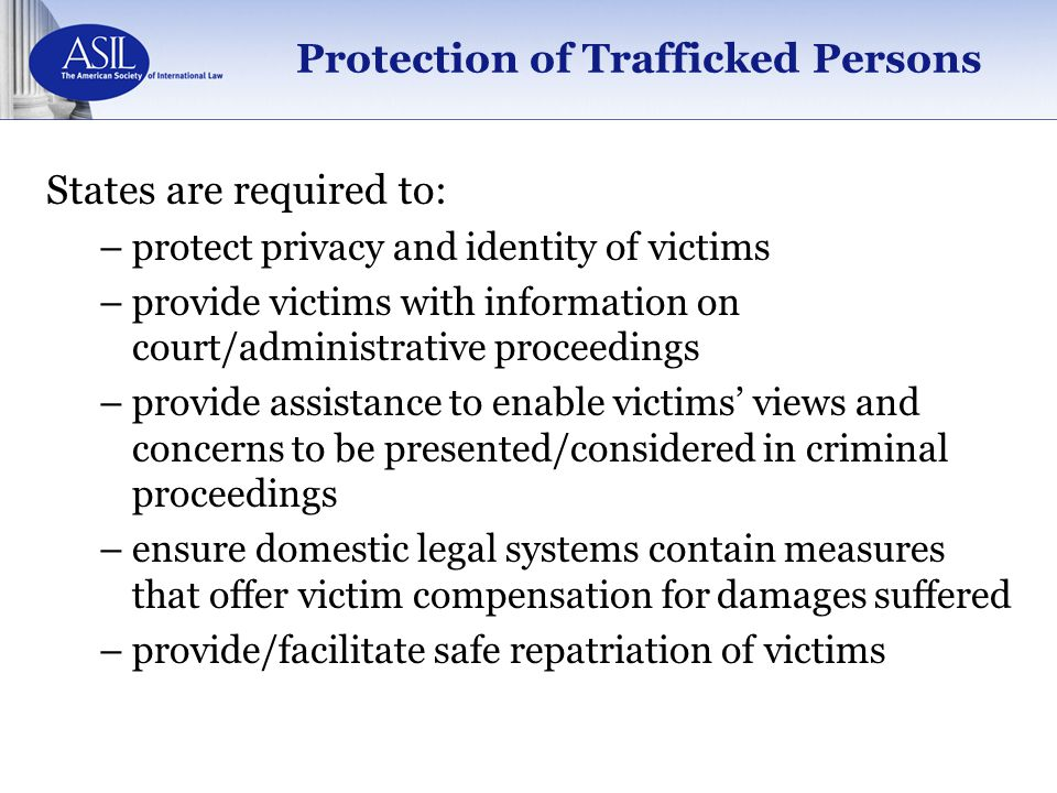 Protection of Trafficked Persons
