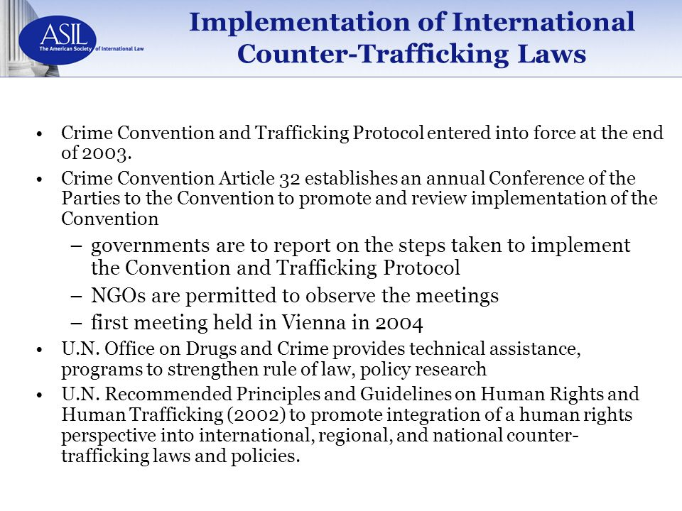 Implementation of International Counter-Trafficking Laws