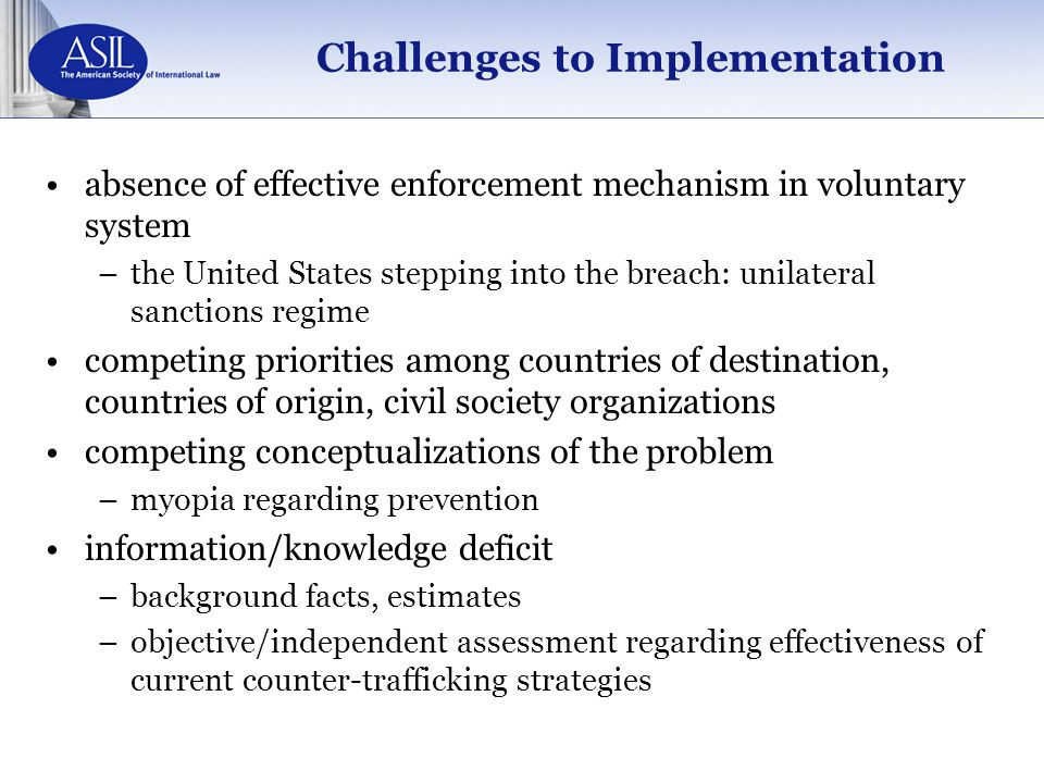 Challenges to Implementation