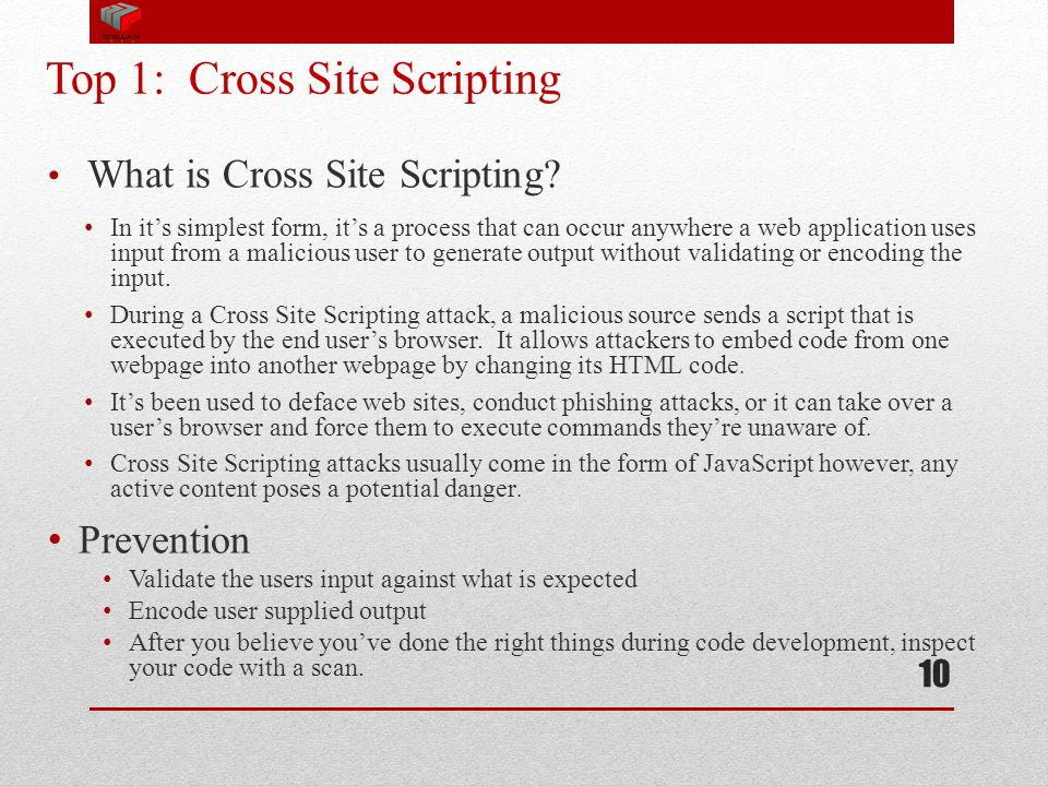 Top 1: Cross Site Scripting