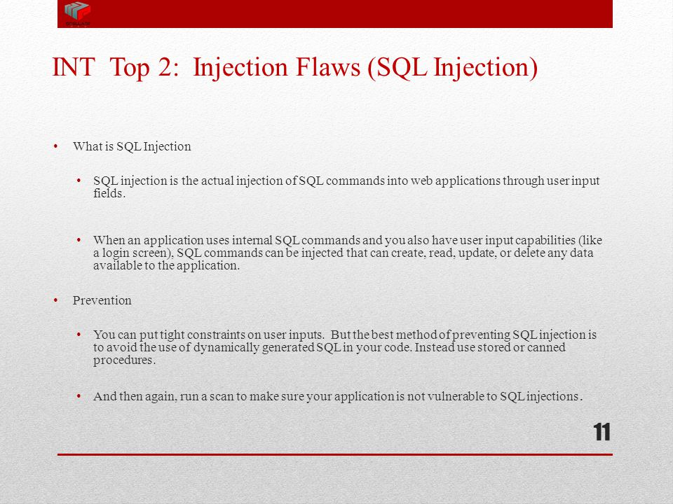 INT Top 2: Injection Flaws (SQL Injection)