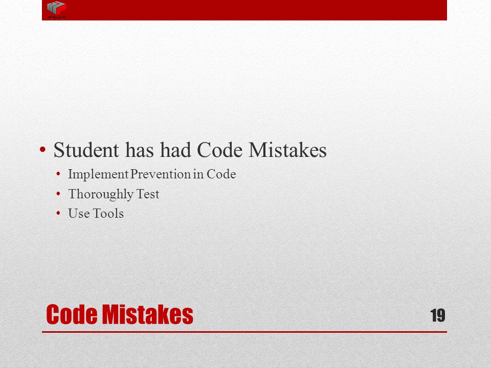 Code Mistakes Student has had Code Mistakes